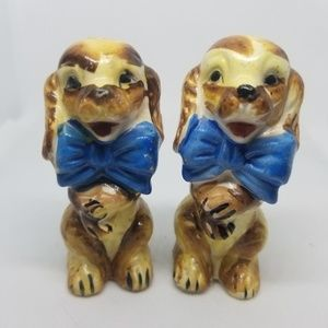 Japan Dining - Vintage Salt & Pepper Shakers Happy Dogs W/Bowties